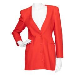 A 1980s Vintage Tangerine Claude Montana Wool Blazer M