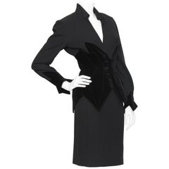 A 1980s Vintage Thierry Mugler Black Wool and Velvet Skirt Suit