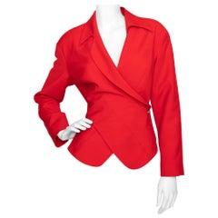 A 1980s Vintage Thierry Mugler Red Wool Blazer