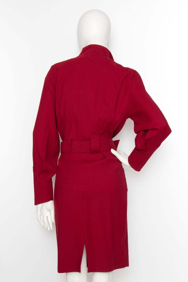 Women's or Men's A 1980s Vintage Thierry Mugler Wine Red Wasp-Waist Wool Dress