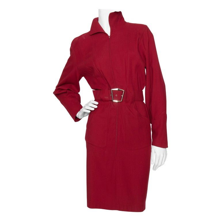 A 1980s Vintage Thierry Mugler Wine Red Wasp-Waist Wool Dress