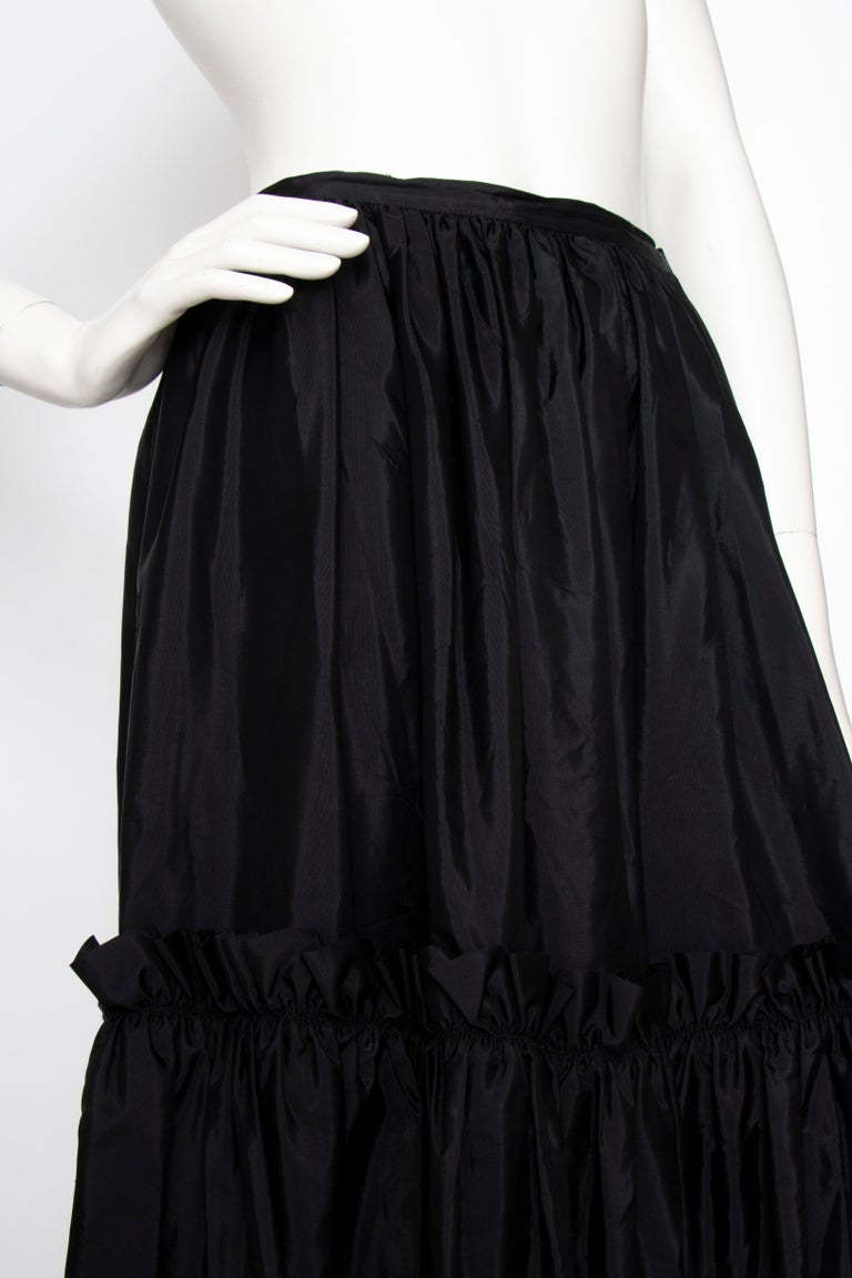 Women's or Men's A 1980s Vintage Yves Saint Laurent Rive Gauche Black Silk Taffeta Skirt For Sale