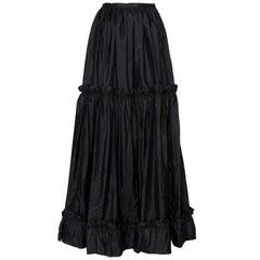 A 1980s Vintage Yves Saint Laurent Rive Gauche Black Silk Taffeta Skirt