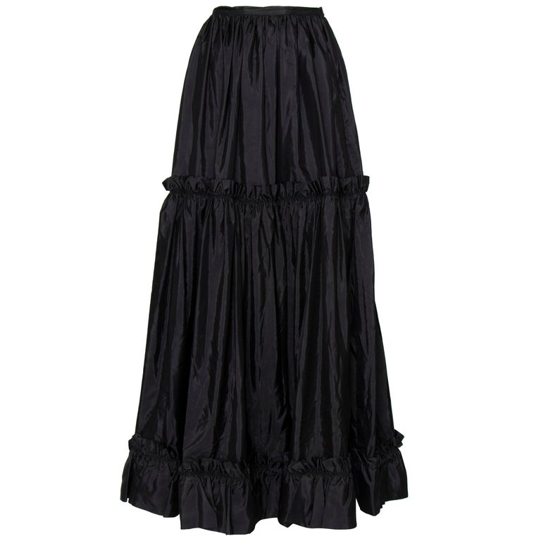 A 1980s Vintage Yves Saint Laurent Rive Gauche Black Silk Taffeta Skirt For Sale