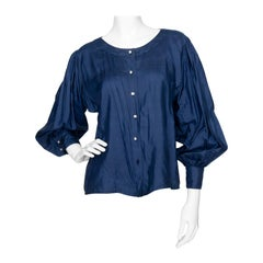 A 1980s Vintage Yves Saint Laurent Rive Gauche Blue Silk Blouse