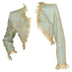 A 1980s Vintage Yves Saint Laurent Rive Gauche Gold Lace Bolero Jacket