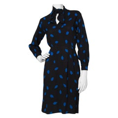 A 1980s Vintage Yves Saint Laurent Rive Gauche Silk Dress with Blue Polka Dots