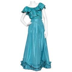 A 1980s Vintage Yves Saint Laurent Rive Gauche Silk Taffeta Two Piece Dress