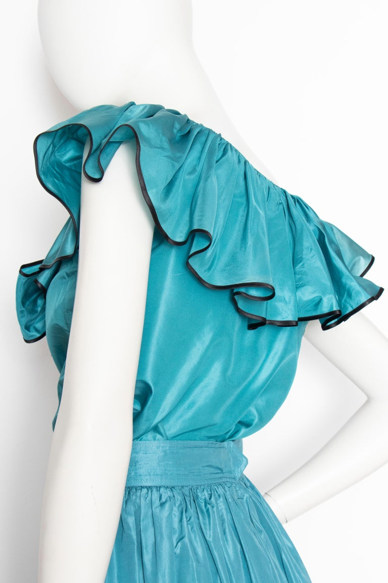 A 1980s Vintage Yves Saint Laurent Rive Gauche Teal Blue Silk Taffeta Two-Piece  For Sale 2