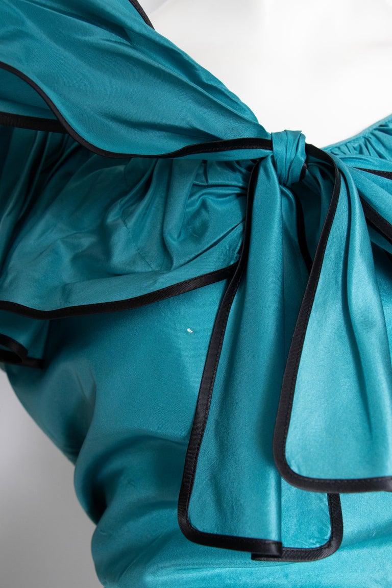 A 1980s Vintage Yves Saint Laurent Rive Gauche Teal Blue Silk Taffeta Two-Piece  For Sale 3