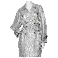 A 1980s Vintage Yves Saint Laurent Silver Jacquard Jacket