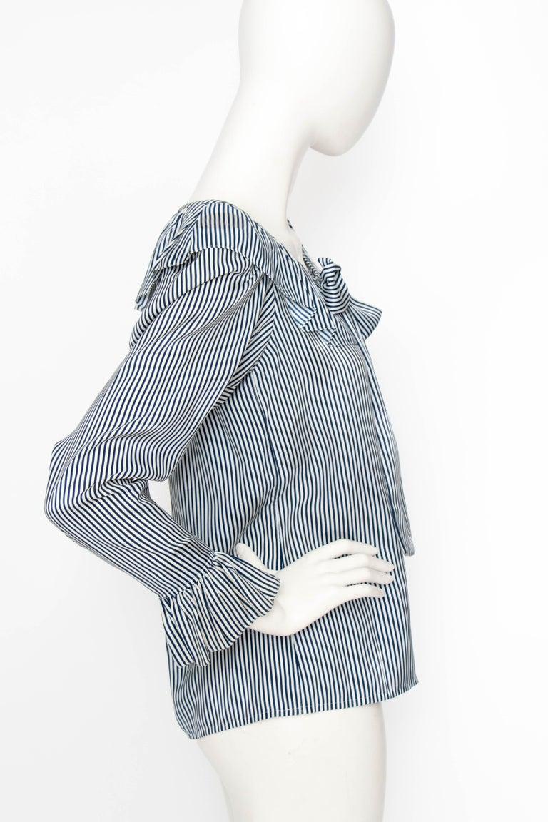 Women's or Men's A 1980s Yves Saint Laurent Blue And White Stripe Silk Ruffle Blouse For Sale
