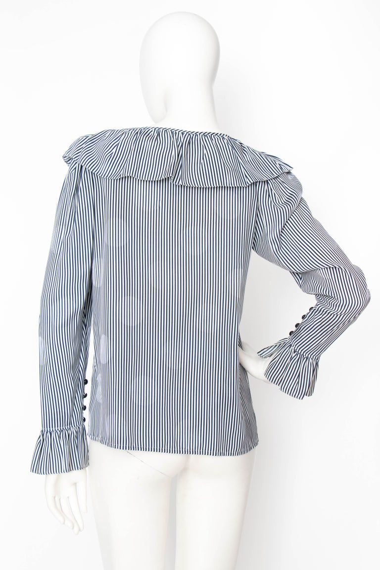 A 1980s Yves Saint Laurent Blue And White Stripe Silk Ruffle Blouse For Sale 1