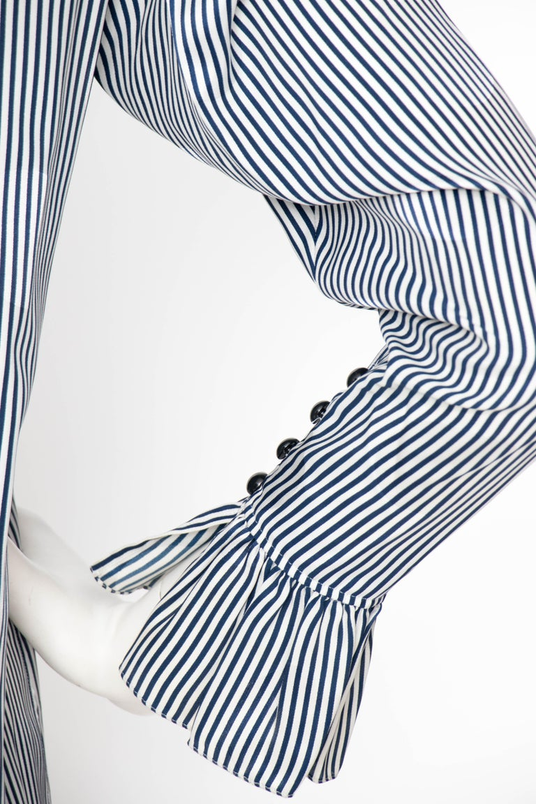 A 1980s Yves Saint Laurent Blue And White Stripe Silk Ruffle Blouse For Sale 2