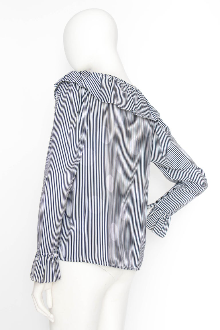 A 1980s Yves Saint Laurent Blue And White Stripe Silk Ruffle Blouse For Sale 3
