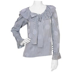 A 1980s Yves Saint Laurent Blue And White Stripe Silk Ruffle Blouse