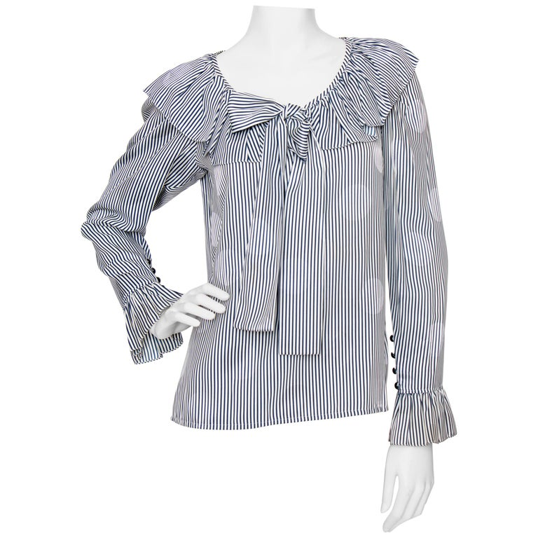 A 1980s Yves Saint Laurent Blue And White Stripe Silk Ruffle Blouse For Sale