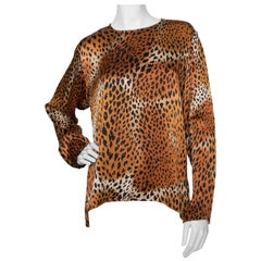 A 1980s Yves Saint Laurent Rive Gauche Animal Print Silk Blouse
