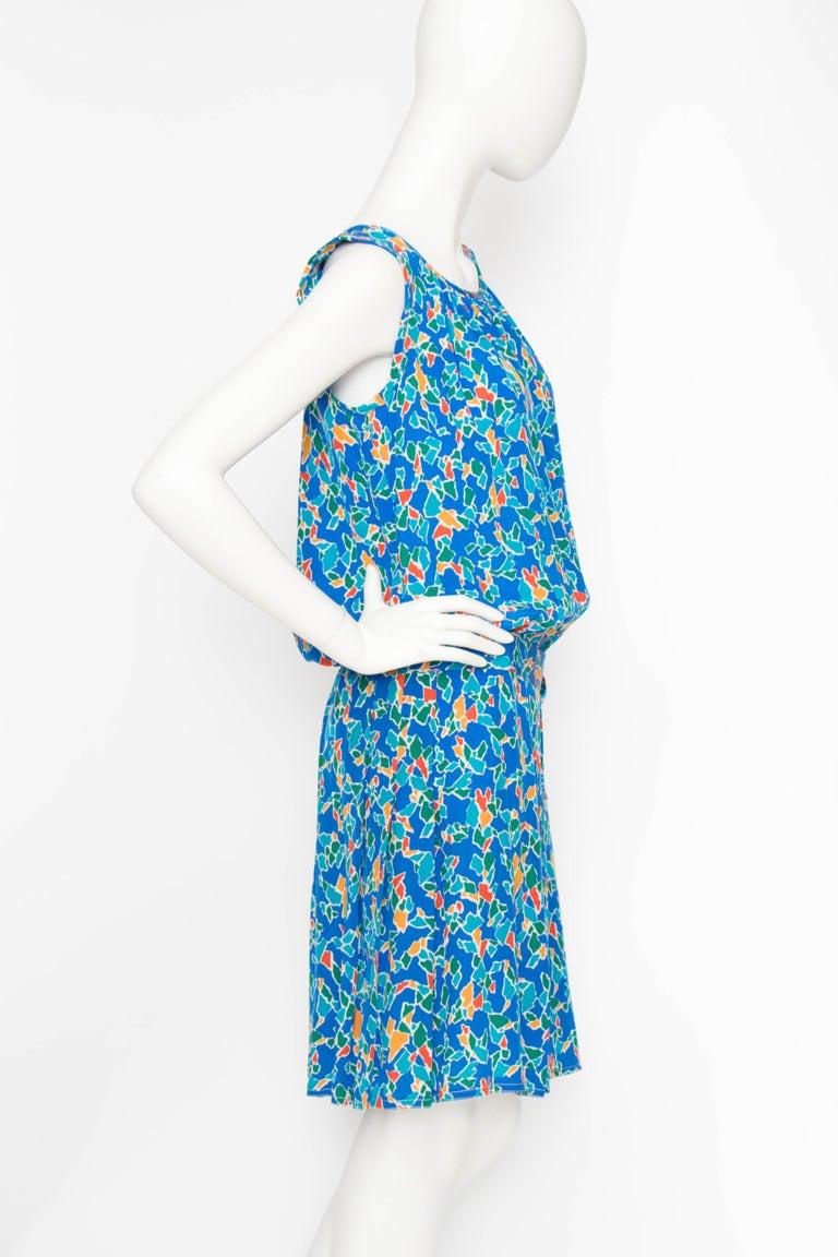 Blue A 1980s Yves Saint Laurent Rive Gauche Graphic Sleeveless Silk Drop-waist Dress  For Sale