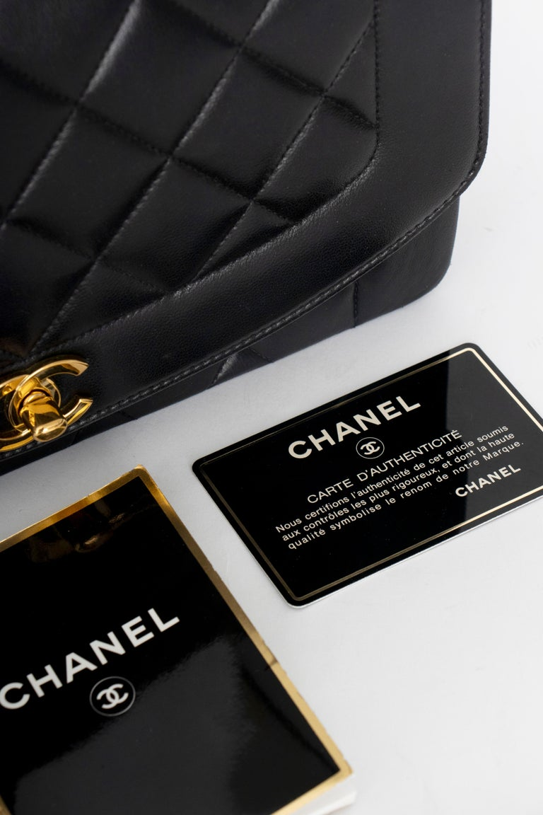 A 1990s Chanel Black Quilted Lambskin Bag Gold Hardware For Sale 6