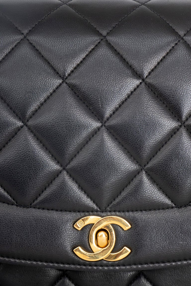 A 1990s Chanel Black Quilted Lambskin Bag Gold Hardware For Sale 1