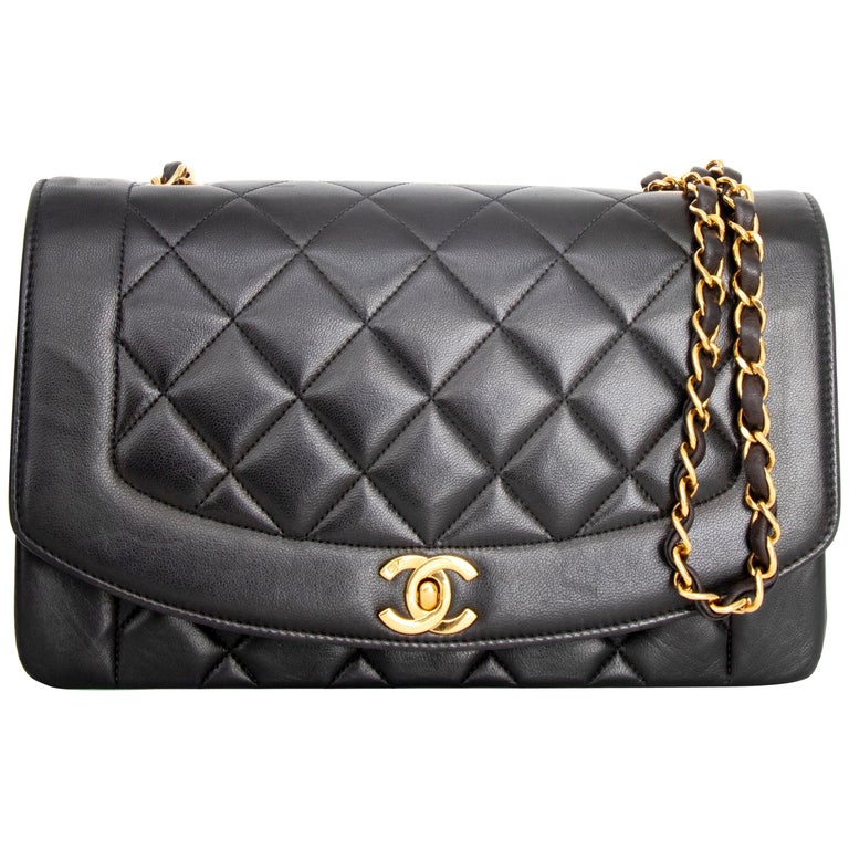 A 1990s Chanel Black Quilted Lambskin Bag Gold Hardware For Sale