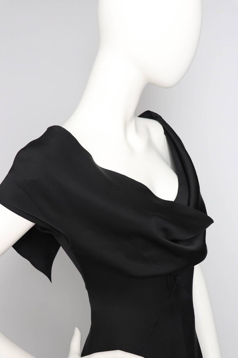 Women's or Men's A 1990s Vintage Black Silk Satin Chanel Evening Dress M For Sale