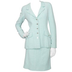 A 1990s Vintage Chanel Green and White Skirt Suit