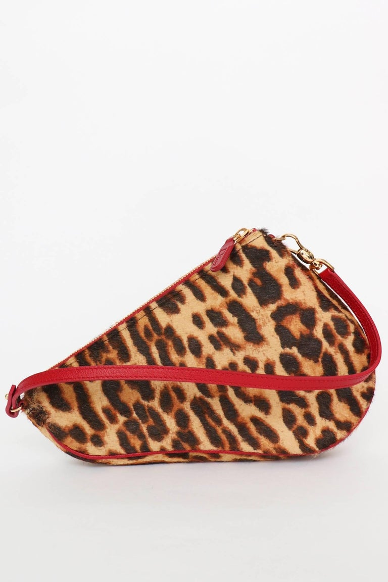8336834b8f66 A fabulous 1990s Christian Dior animal printed pony hair saddle bag with a  pink leather strap
