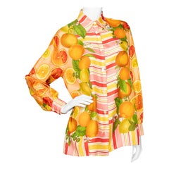 A 1990s Vintage Gucci Fruit Print Silk Twill Blouse