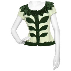 A 1990s Vintage Moschino Cheap and Chic Plant Appliqué Crêpe Blouse