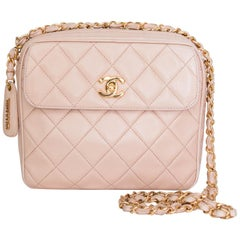 A 1990s Vintage Pink Crossbody Quilted Lambskin Bag With Gold Hardware
