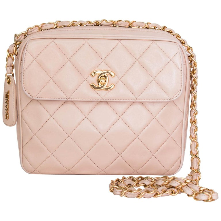 d34c3bf5a08489 A 1990s Vintage Pink Crossbody Quilted Lambskin Bag With Gold Hardware For  Sale