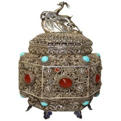 19th Century Indian Silver Filigree Work Incense Burner with Mounted Cabochons