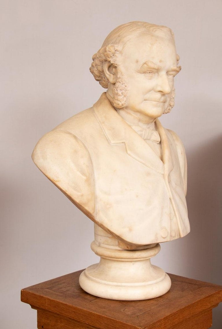 British 19th Century Marble Bust of Sir Thomas Spencer Wells, circa 1879 For Sale