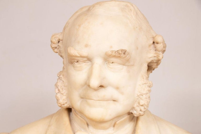 Carved 19th Century Marble Bust of Sir Thomas Spencer Wells, circa 1879 For Sale