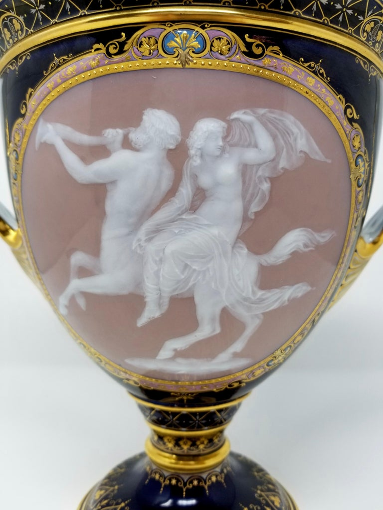 Meissen Pate Sur Pate Vase of a Neoclassical Maiden Seated on Centaur In Excellent Condition For Sale In New York, NY