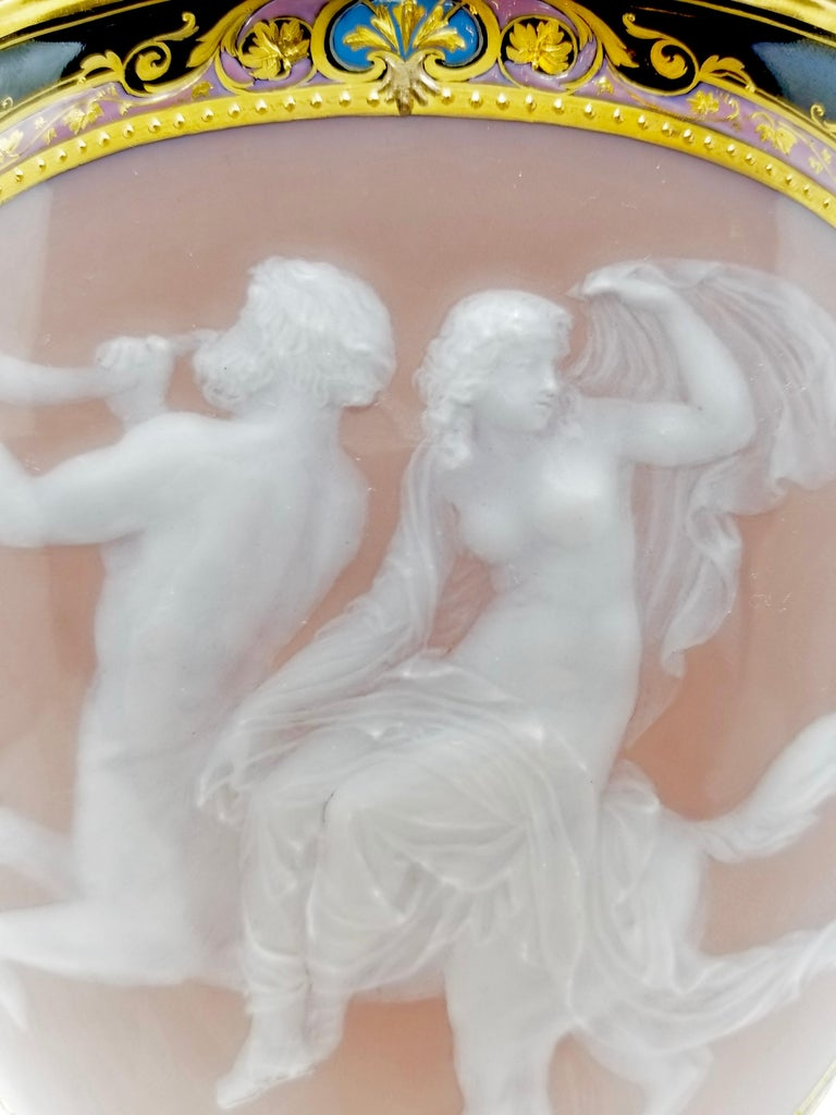 Mid-19th Century Meissen Pate Sur Pate Vase of a Neoclassical Maiden Seated on Centaur For Sale
