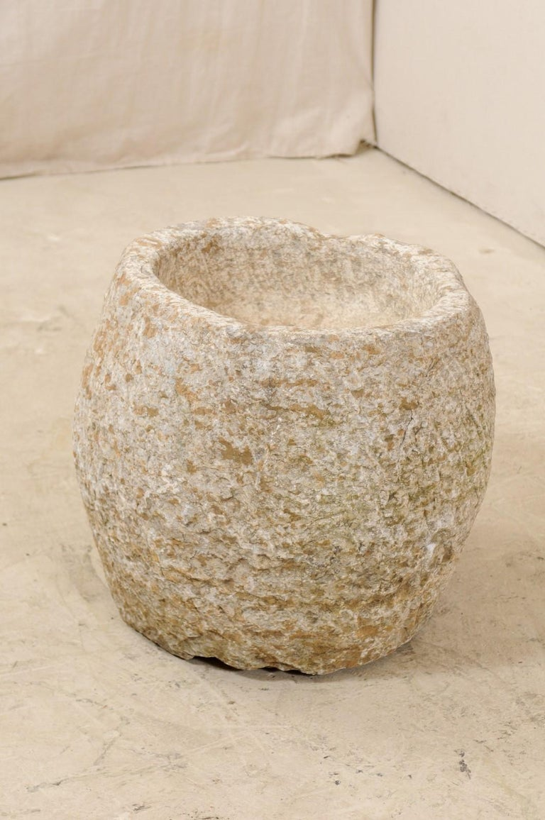 Limestone 19th Century Spanish Large Hand Carved Stone Vessel or Basin For Sale