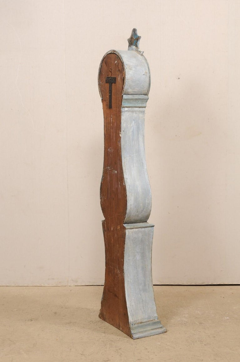 19th Century Swedish Grandfather Floor Clock, Scraped Finish with Blue Coloring For Sale 6