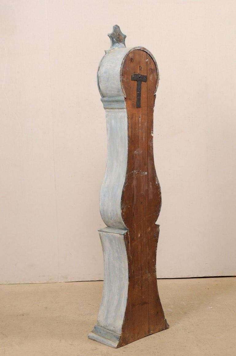 19th Century Swedish Grandfather Floor Clock, Scraped Finish with Blue Coloring For Sale 7