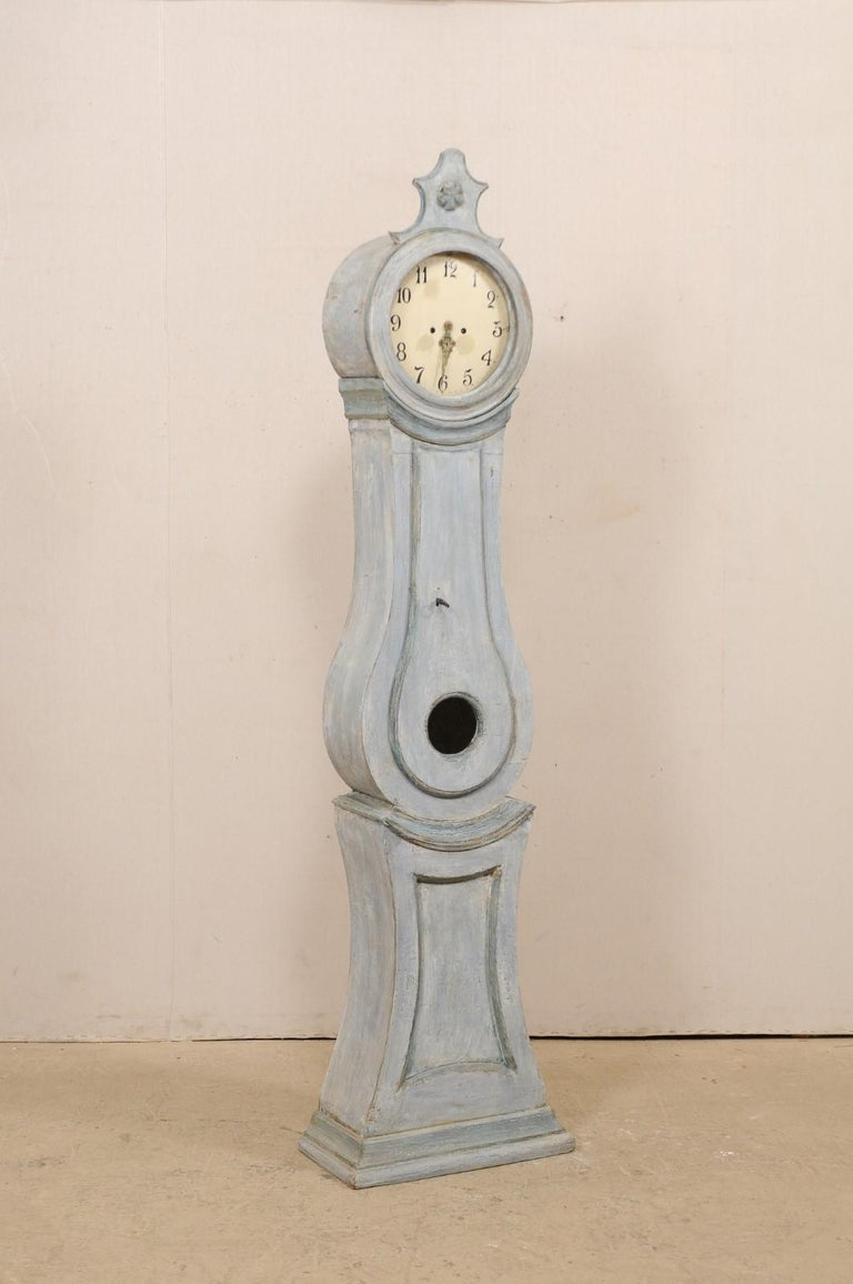 19th Century Swedish Grandfather Floor Clock, Scraped Finish with Blue Coloring In Good Condition For Sale In Atlanta, GA
