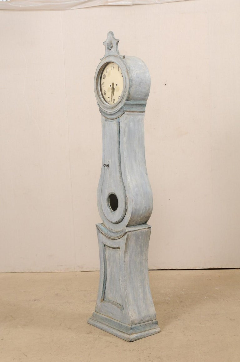 19th Century Swedish Grandfather Floor Clock, Scraped Finish with Blue Coloring For Sale 1