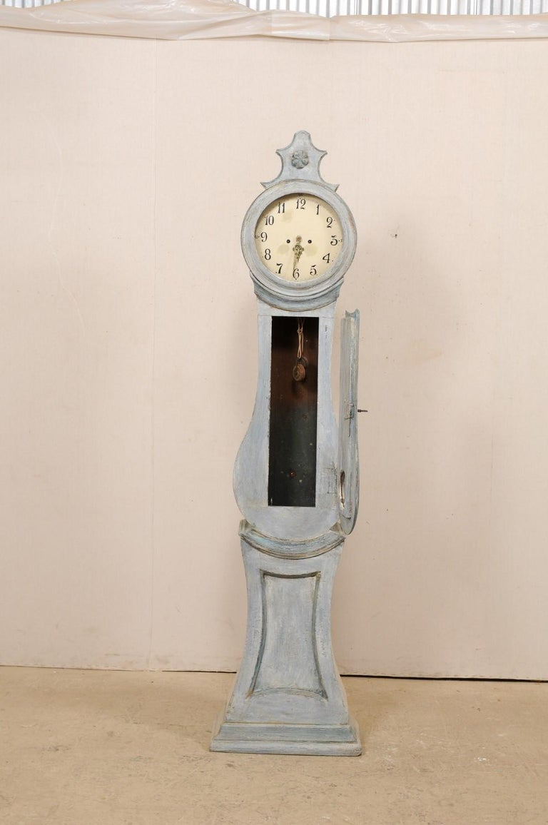 19th Century Swedish Grandfather Floor Clock, Scraped Finish with Blue Coloring For Sale 2