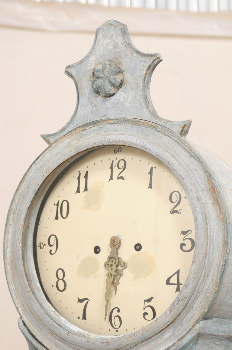 19th Century Swedish Grandfather Floor Clock, Scraped Finish with Blue Coloring For Sale 3