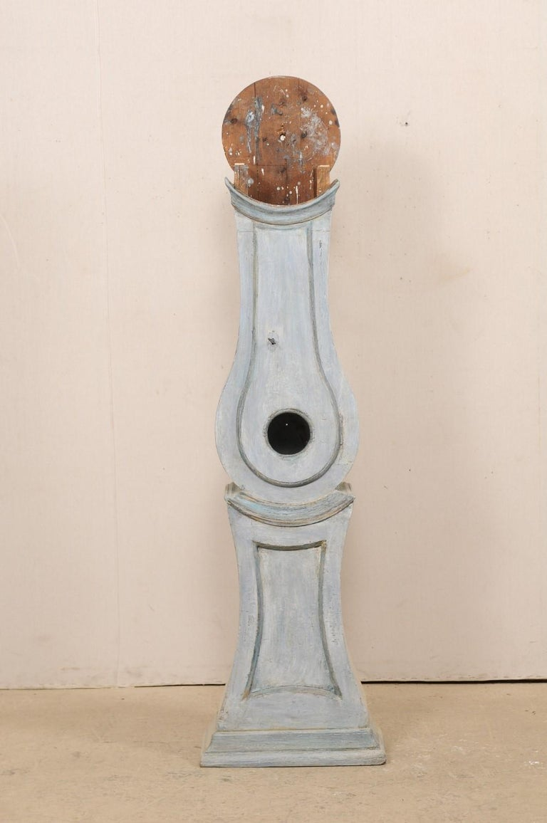 19th Century Swedish Grandfather Floor Clock, Scraped Finish with Blue Coloring For Sale 4
