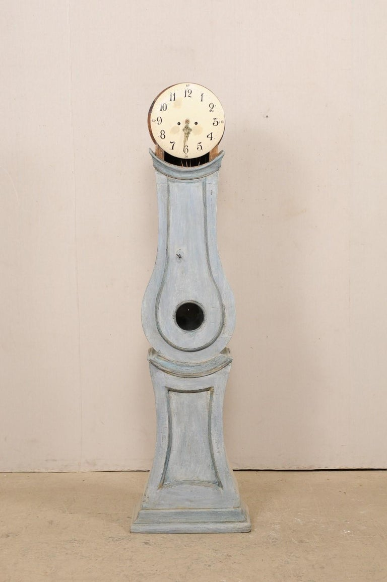 19th Century Swedish Grandfather Floor Clock, Scraped Finish with Blue Coloring For Sale 5