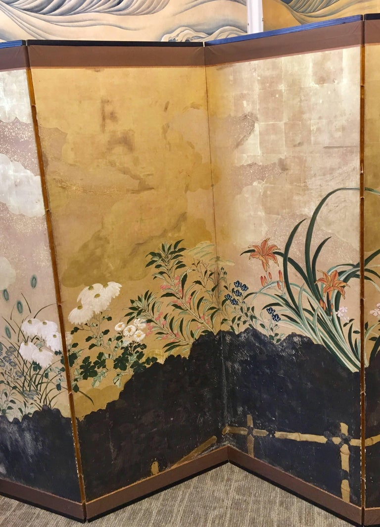Japanese 19th Century Six-Panel Screen For Sale