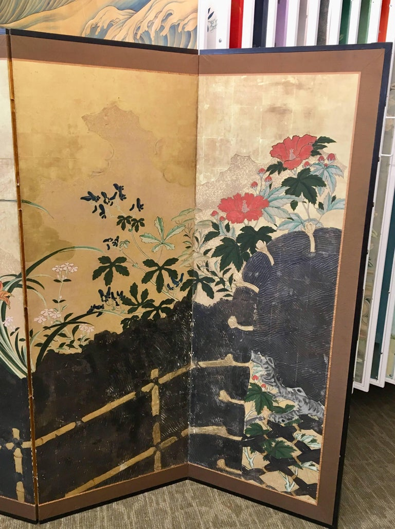 Hand-Painted 19th Century Six-Panel Screen For Sale