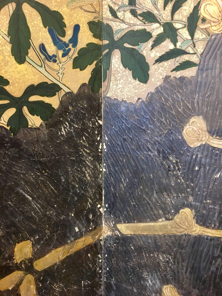 Gold Leaf 19th Century Six-Panel Screen For Sale